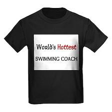 World's Hottest Swimming Coach Kids Dark T-Shirt