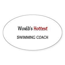 World's Hottest Swimming Coach Oval Sticker