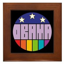 Obama Flag Rainbow Framed Tile