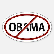 No Obama White Bumper Oval Decal