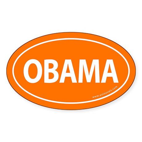 Barack Obama Auto Oval Sticker -Orange