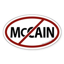 No McCain White Bumper Oval Decal