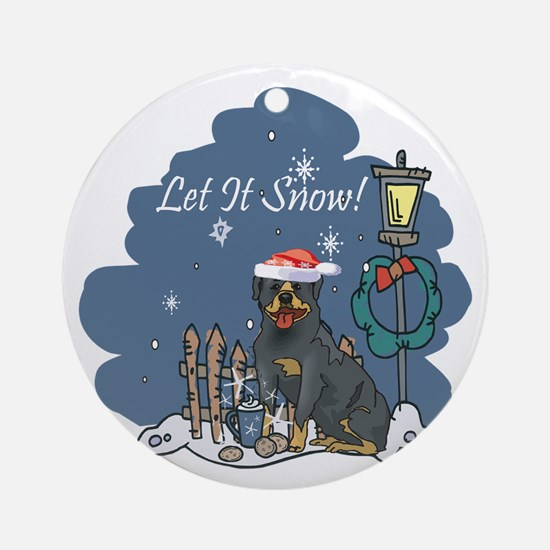Let It Snow Rottweiler Ornament (Round)