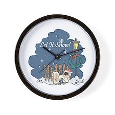 Let It Snow Pekingese Wall Clock