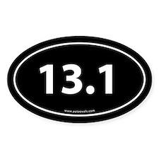 13.1 Half Marathon Bumper Sticker -Black (Oval)