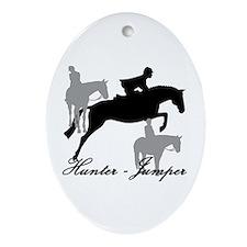 Hunter Jumper Trio Script Ornament (Oval)