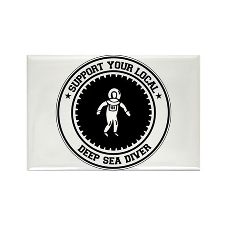 Support Deep Sea Diver Rectangle Magnet