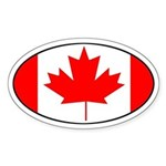Canadian Flag Oval Sticker
