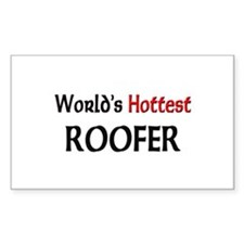 World's Hottest Roofer Rectangle Decal