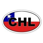 Flag of Chile (CHL) Oval Sticker