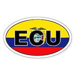 Flag of Ecuador (ECU) Oval Sticker