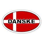 Danish Flag Oval Sticker