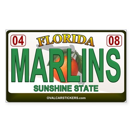 Florida Plate - MARLINS Rectangle Sticker 50 pk)