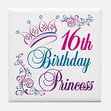16th Birthday Princess Tile Coaster