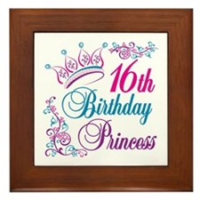 16th Birthday Princess Framed Tile