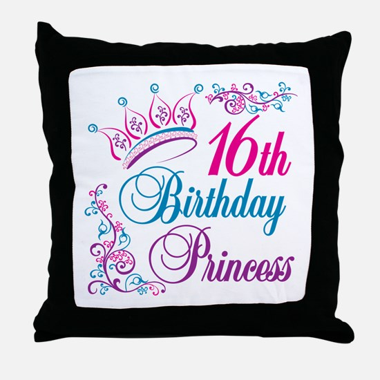 16th Birthday Princess Throw Pillow