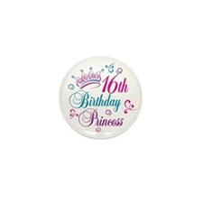 16th Birthday Princess Mini Button