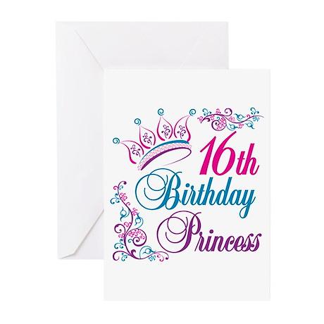 16th Birthday Princess Greeting Cards (Pk of 10)