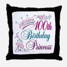 100th Birthday Princess Throw Pillow