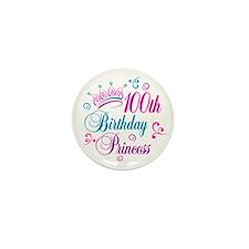 100th Birthday Princess Mini Button