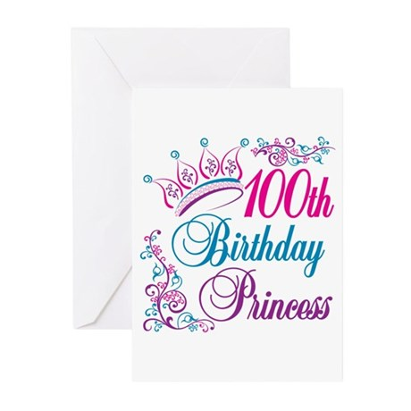 100th Birthday Princess Greeting Cards (Pk of 10)