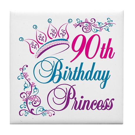 90th Birthday Princess Tile Coaster