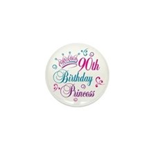 90th Birthday Princess Mini Button