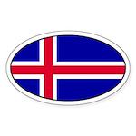 Icelandic Flag Oval Sticker