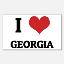 I Love Georgia Rectangle Decal