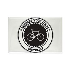Support Bicyclist Rectangle Magnet
