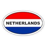 Dutch / The Netherlands Flag Oval Sticker