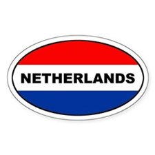 Dutch / The Netherlands Flag Oval Stickers