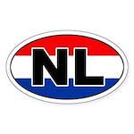 Dutch / The Netherlands (NL) Flag Oval Sticker