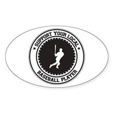 Support Baseball Player Oval Decal