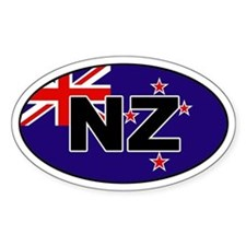 New Zealand (NZ) Flag Oval Bumper Stickers