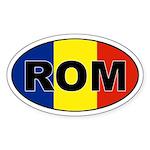 Romanian (ROM) Flag Oval Sticker