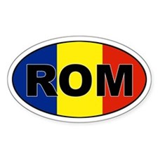 Romanian (ROM) Flag Oval Decal