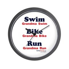 Triathlon Grandma Wall Clock