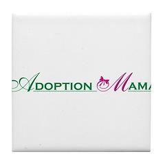 Adoption Mama Pink/Green Logo Tile Coaster