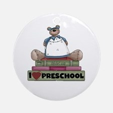 Bear and Books Preschool Ornament (Round)