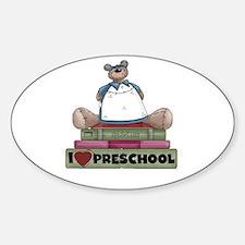 Bear and Books Preschool Oval Decal