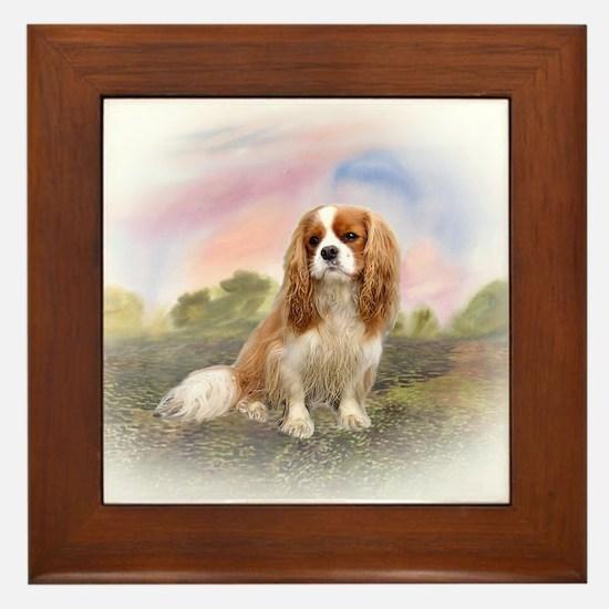 English Toy Spaniel portrait Framed Tile