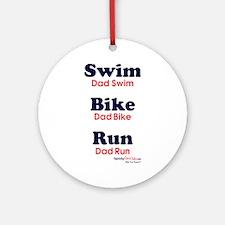 Triathlon Dad Ornament (Round)