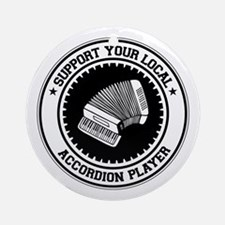Support Accordion Player Ornament (Round)