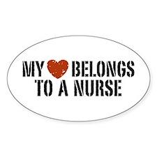 My Heart Belongs to a Nurse Oval Decal