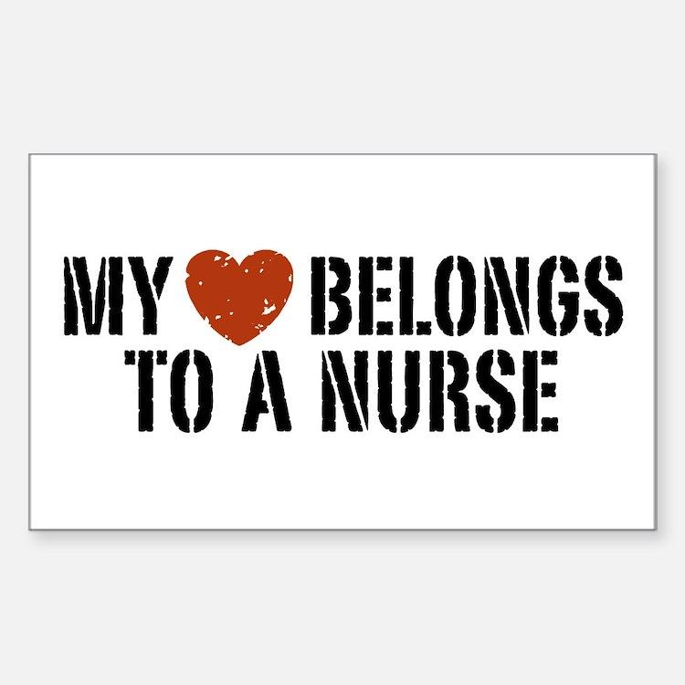My Heart Belongs to a Nurse Rectangle Decal
