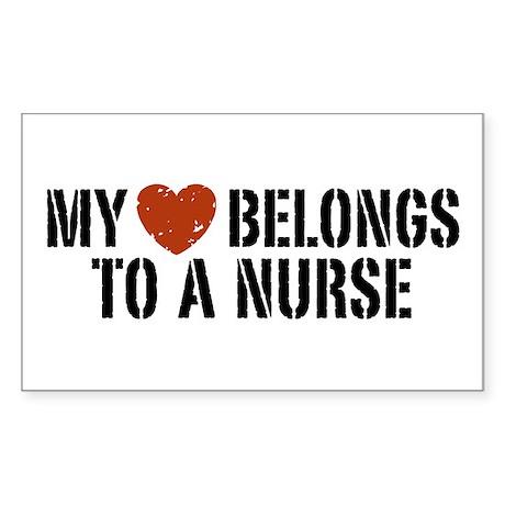 My Heart Belongs to a Nurse Rectangle Sticker