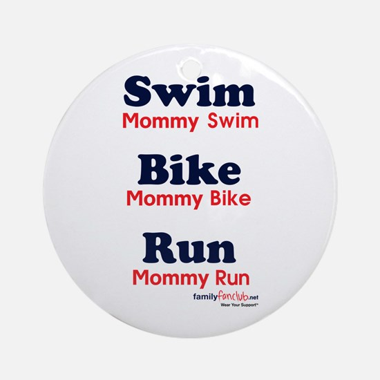 Triathlon Mommy Ornament (Round)