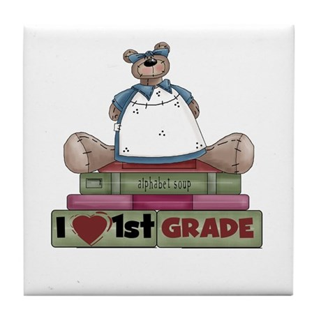 Bear and Books 1st Grade Tile Coaster