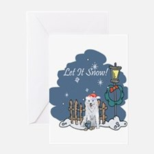 Let It Snow Husky Greeting Card